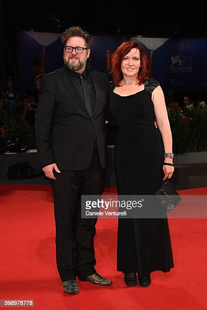 Director Martin Koolhoven and Tallulah H Schwab attend the premiere of 'Brimstone' during the 73rd Venice Film Festival at Sala Grande on September 3...