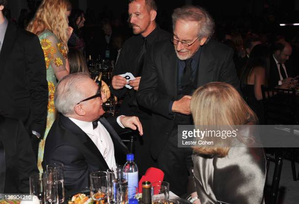 Director Martin Scorcese speaks with director Stephen Spielberg and Helen Morris at the 17th Annual Critics' Choice Movie Awards held at The...