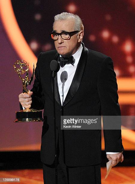Director Martin Scorsese accepts the Outstanding Directing for a Drama Series award onstage during the 63rd Annual Primetime Emmy Awards held at...