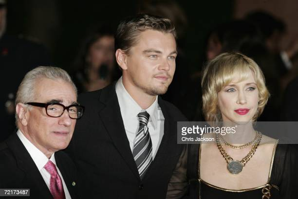 Director Martin Scorsese actors Leonardo DiCaprio and Vera Farmiga attend the premiere of the movie The Departed on the third day of Rome Film...