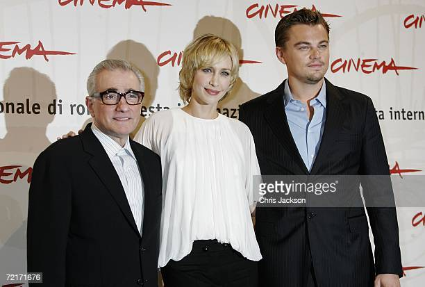 Director Martin Scorsese actors Vera Farmiga and Leonardo DiCaprio attend a photocall to promote the movie The Departed on the third day of Rome Film...