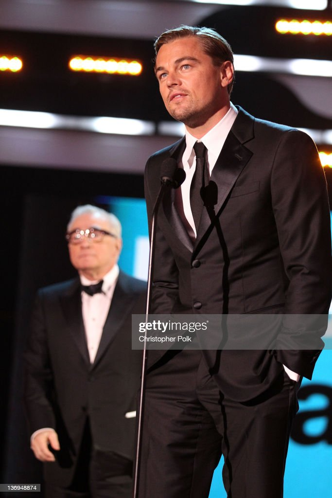 Director Martin Scorsese and actor Leonardo DiCaprio onstage during the 17th Annual Critics' Choice Movie Awards held at The Hollywood Palladium on January 12, 2012 in Los Angeles, California.