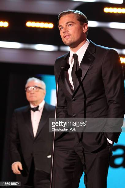 Director Martin Scorsese and actor Leonardo DiCaprio onstage during the 17th Annual Critics' Choice Movie Awards held at The Hollywood Palladium on...