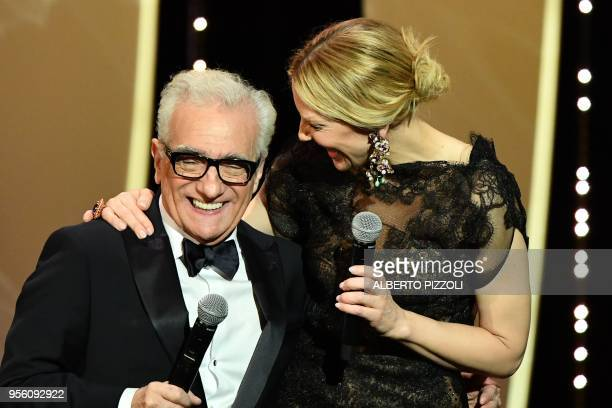 TOPSHOT US director Martin Scorsese and Australian actress and President of the Jury Cate Blanchett laugh on stage on May 8 2018 during the opening...