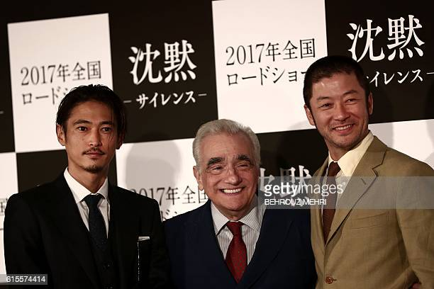 US director Martin Scorsese and Japanese actors Yosuke Kubozuka and Tadanobu Asano pose for a picture after a press conference for his latest movie...