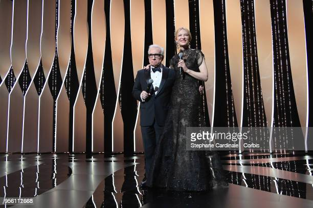 Director Martin Scorsese and jury president Cate Blanchett appear onstage at the Opening Ceremony during the 71st annual Cannes Film Festival at...