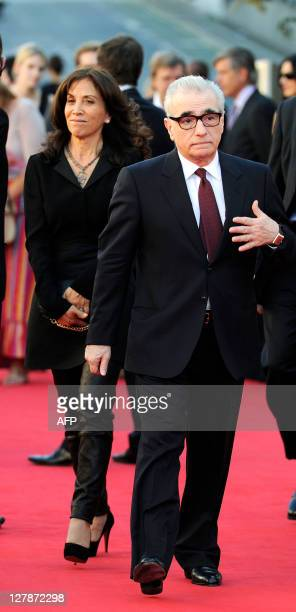 Director Martin Scorsese and Producer Olivia Harrison attend 'George Harrison Living In The Material World' film documentary UK premiere at BFI...