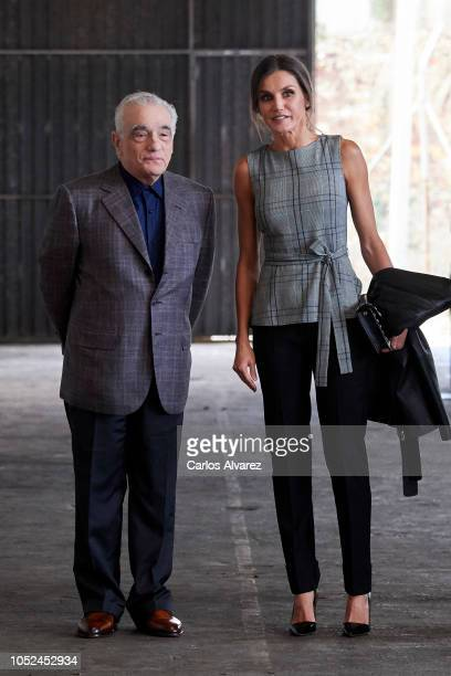 Director Martin Scorsese and Queen Letizia of Spain attend the meeting of Martin Scorsese with young filmmakers framed within the program 'Fabrica...