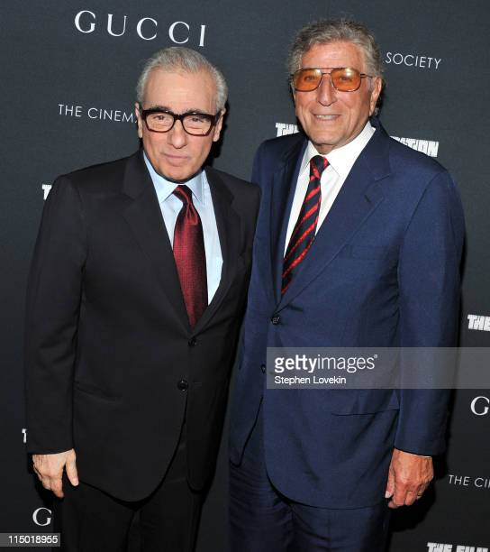 Director Martin Scorsese and singer Tony Bennett attend the Cinema Society Gucci the Film Foundation screening of 'La Dolce Vita' at the Tribeca...
