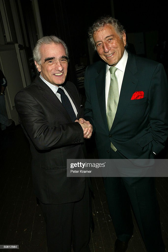 Director Martin Scorsese and singer Tony Bennett pose at the Scorsese And Music Panel during the 2004 Tribeca Film Festival May 7, 2004 in New York City.