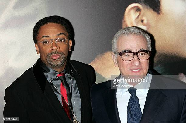 Director Martin Scorsese and Spike Lee attend the premiere of Miracle at St Anna at Ziegfeld Theatre on September 22 2008 in New York City