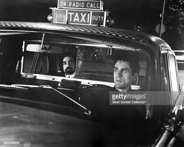 Director Martin Scorsese as the 'Silhouette Watching Passenger' and Robert De Niro as Travis Bickle in 'Taxi Driver' directed by Scorsese 1976