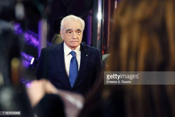"Director Martin Scorsese attends ""The Irishman"" red carpet during the 14th Rome Film Festival on October 21, 2019 in Rome, Italy."