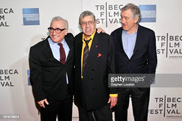 Director Martin Scorsese comedian Jerry Lewis and actor Robert De Niro attend The King of Comedy Closing Night Screening Gala during the 2013 Tribeca...