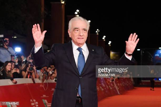 US director Martin Scorsese gestures as he arrives for the premiere of his film The Irishman during the 14th Rome Film Festival on October 21 2019 at...