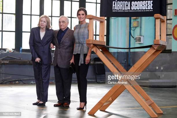 Director Martin Scorsese his wife Helen Morris and Queen Letizia of Spain attend the meeting of Martin Scorsese with young filmmakers framed within...