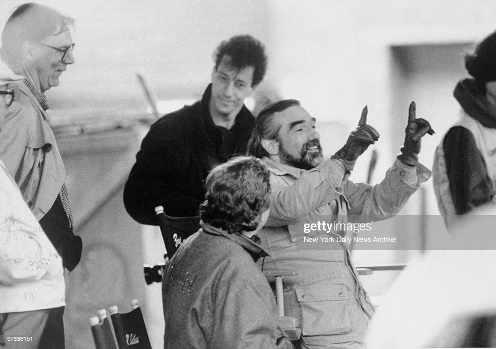 Director Martin Scorsese (center) in action on set of the movie 'GoodFellas' at Hillside Ave., Queens.