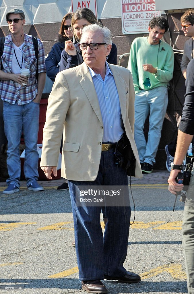 Director Martin Scorsese on location for 'The Wolf Of Wall Street' on September 17, 2012 in Emerson, New Jersey.