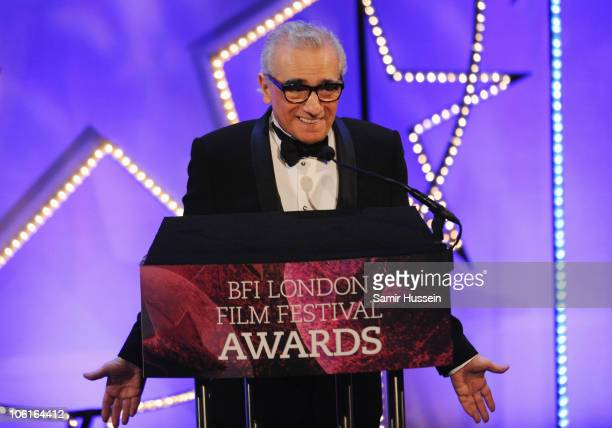 Director Martin Scorsese pays tribute to the work of the BFI National Archive at the ceremony for the 54th BFI London Film Festival Awards at LSO St...