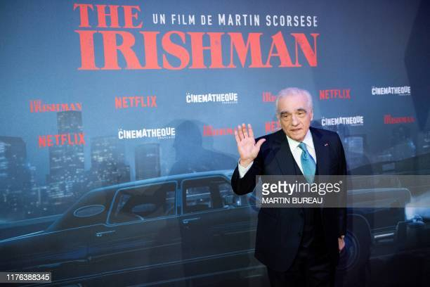"""Director Martin Scorsese poses on the red carpet during the photocall for the premiere of the movie """"The Irishman"""" at la Cinematheque in Paris, on..."""