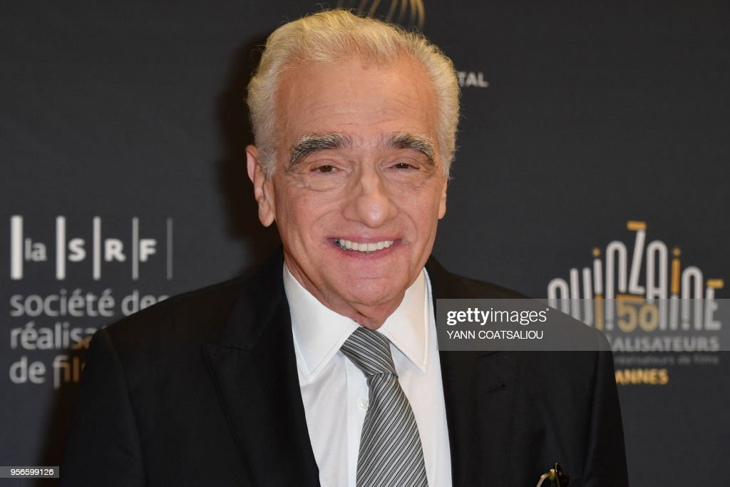 US director Martin Scorsese poses prior to receiving from the French Association of Filmmakers (La Société des realisateurs de films, SRF) the Carosse d'Or 2018 award (Golden Coach Award 2018) during a ceremony on May 9, 2018 at the 71st edition of the Cannes Film Festival in Cannes, southern France.