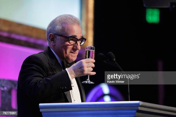 Director Martin Scorsese speaks onstage during the 60th annual DGA Awards held at the Hyatt Regency Century Plaza Hotel on January 26 2008 in Los...