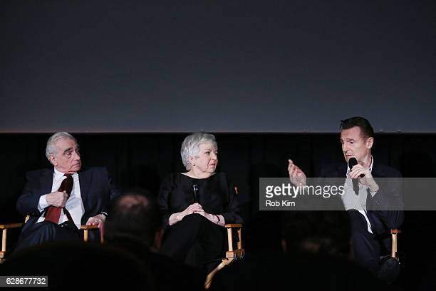 Director Martin Scorsese Thelma Schoonmaker and Liam Neeson attend a QA at the New York Screening of 'Silence' at Regal EWalk Theater on December 8...