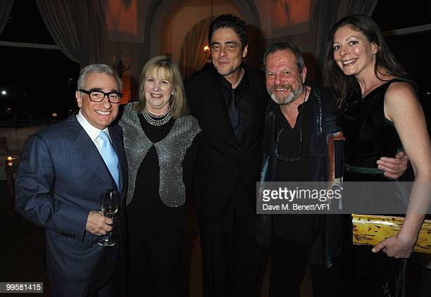 Director Martin Scorsese with his wife Helen actor Benicio del Toro director Terry Gilliam and his daughter producer Amy Gilliam attend the Vanity...