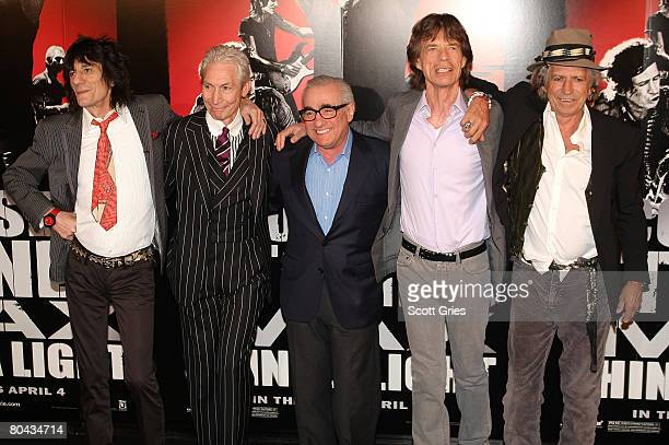 Director Martin Scorsese with musicians Ronnie Wood Charlie Watts Mick Jagger and Keith Richards or the Rolling Stones during Paramount Pictures'...