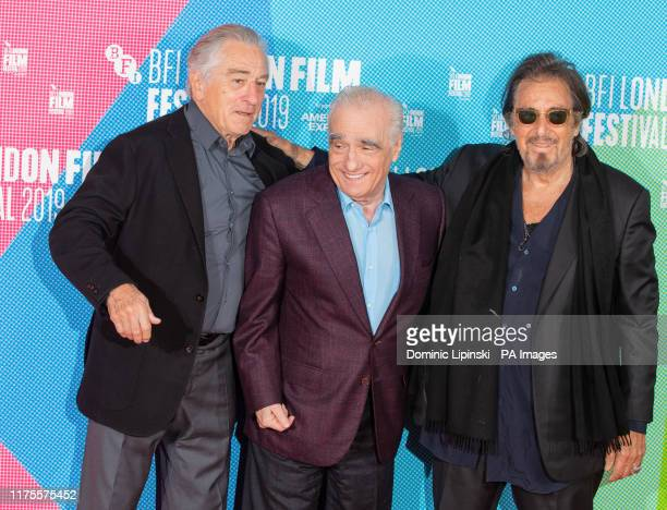 Director Martin Scorsese with Robert De Niro and Al Pacino during a photocall for The Irishman as part of the BFI London Film Festival 2019 held at...