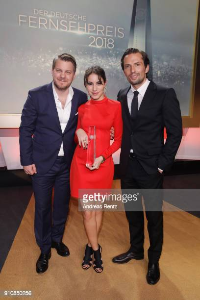 Director Marvin Kren Almila Bagriacik and Quirin Berg attend the German Television Award at Palladium on January 26 2018 in Cologne Germany