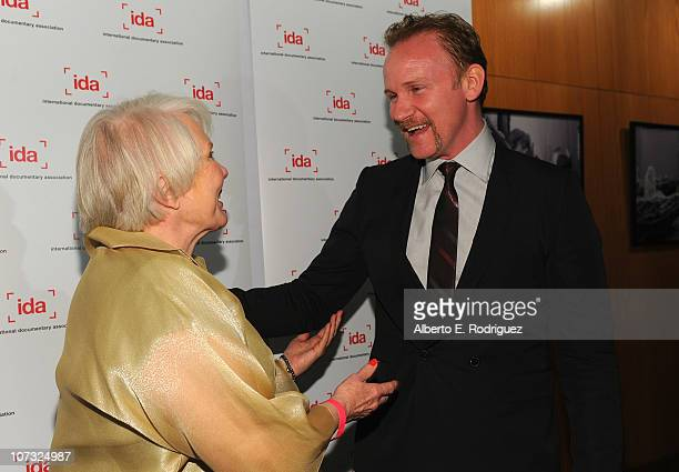 Director Mary Ann Smothers Bruni and host Morgan Spurlock arrive at the International Documentary Association's 26th annual awards ceremony at the...
