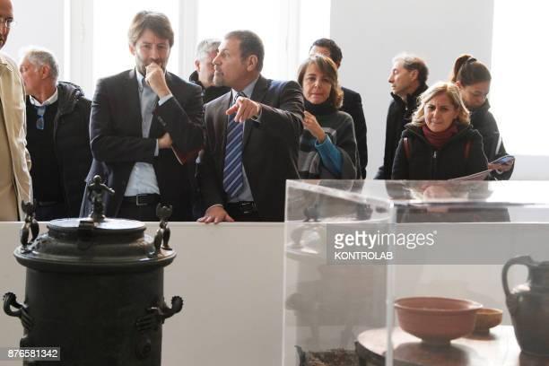 MUSEUM NAPLES CAMPANIA ITALY Director Massimo Osanna guides Italian Culture Minister Dario Franceschini in the exibition Pompei@madre in the Madre...