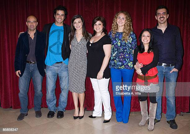 Director Massimo Romeo Piparo, Antonio Cupo, Roberta Lanfranchi and the rest of the cast attend a photocall for the musical 'Cinderella' at Sistina...