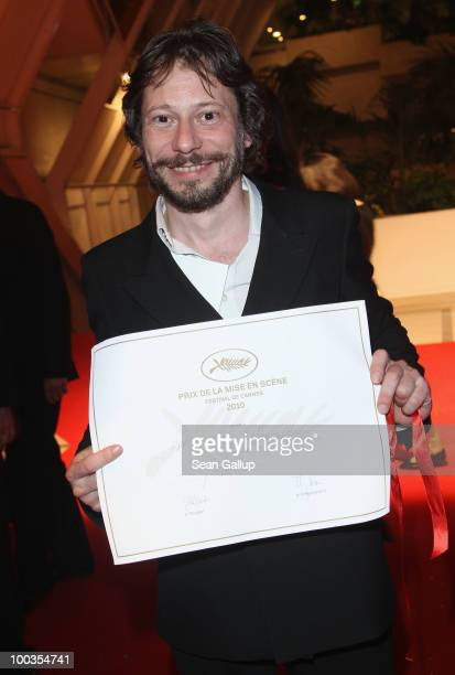 """Director Mathieu Amalric winner of the Best Director award for the film """"On Tour"""" departs the Palme d'Or Award Closing Ceremony held at the Palais..."""