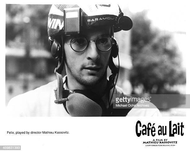 """Director Mathieu Kassovitz on set of the movie """" Cafe au lait """" , circa 1993."""