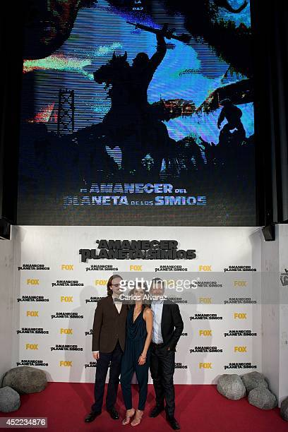 Director Matt Reeves actress Keri Russell and actor Andy Serkis attend the Dawn of the Planet of the Apes premiere at the Capitol cinema on July 16...