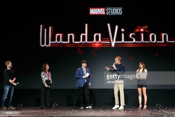 Director Matt Shakman and Head writer Jac Schaeffer of 'WandaVision,' President of Marvel Studios Kevin Feige, and Paul Bettany and Elizabeth Olsen...