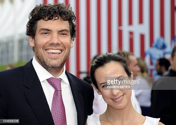 Director Matthew Gordon poses on the red carpet with French producer Marianne Michallet during the 37th American Film Festival, in Deauville,...