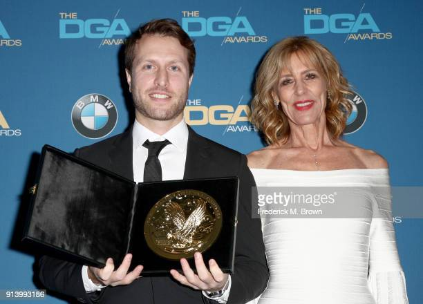 Director Matthew Heineman winner of the award for Outstanding Directorial Achievement in Documentary for 'City of Ghosts' and actor Christine Lahti...