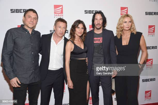 Director Matthew Ross actors Pasha D Lychnikoff Ana Ularu Keanu Reeves and Veronica Ferres attend the 'Siberia' New York premiere at The Metrograph...