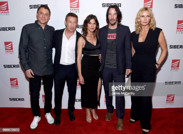 Director Matthew Ross Pasha D Lynchnikoff Ana UlaruKeanu Reeves and Veronica Ferres attend the'Siberia' New York Premiere at The Metrograph on July...