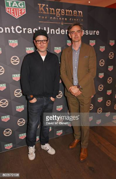 Director Matthew Vaughn and Toby Bateman Managing Director at Mr Porter attend the TAG Heuer Connected Modular 45 Kingsman Special Edition launch at...