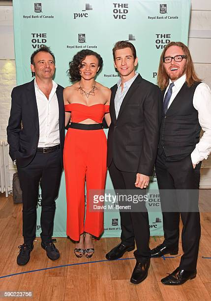 Director Matthew Warchus cast members Carlyss Peer Andy Karl and composer Tim Minchin attend the press night after party for Groundhog Day at The Old...