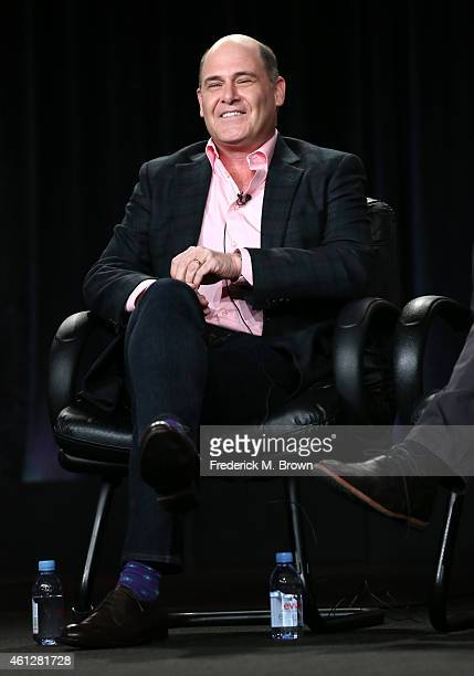 Director Matthew Weiner speaks onstage during the 'Mad Men' panel at the AMC portion of the 2015 Winter Television Critics Association press tour at...