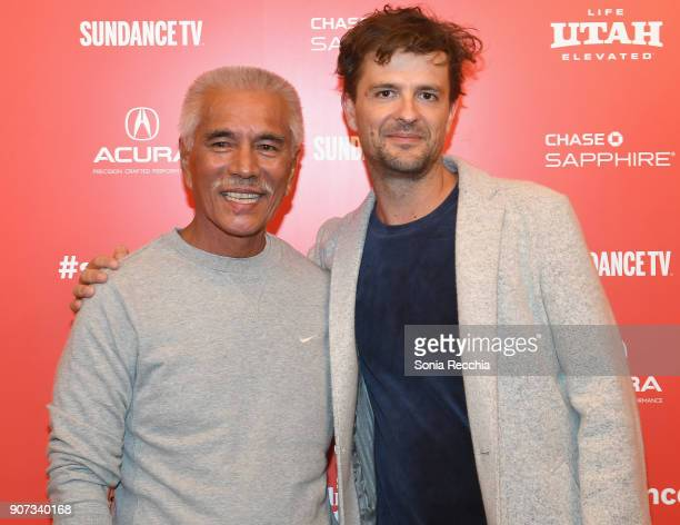 Director Matthieu Rytz and Anote Tong attend the Anote's Arc Premiere during the 2018 Sundance Film Festival at Egyptian Theatre on January 19 2018...