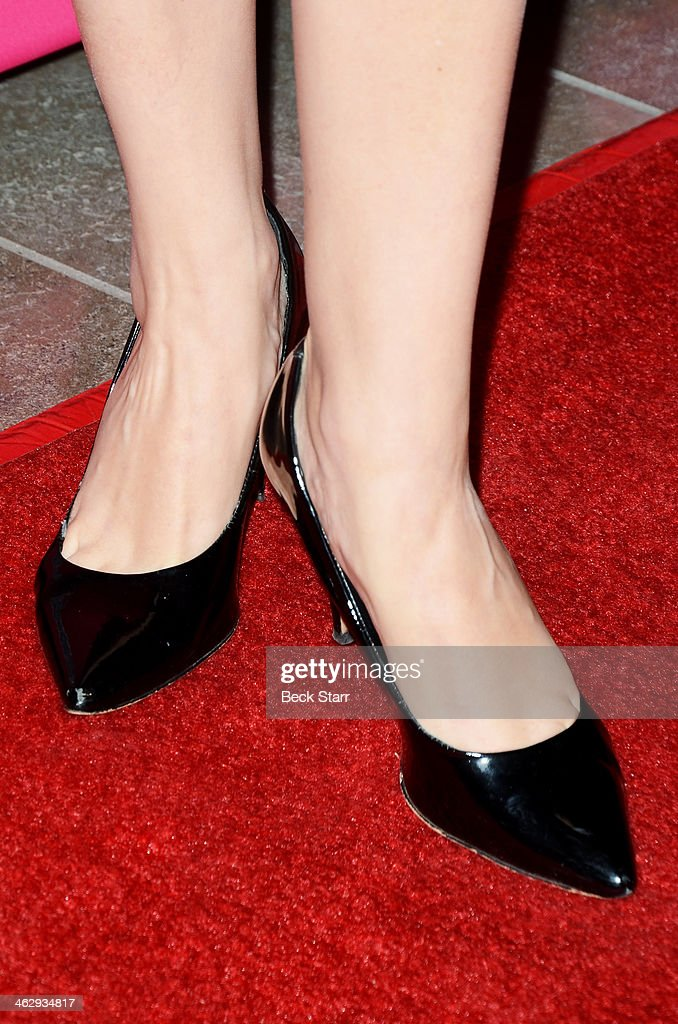 Director Maud Ferrari (shoe detail) attends the opening night of 'An Iliad' at The Eli and Edythe Broad Stage on January 15, 2014 in Santa Monica, California.