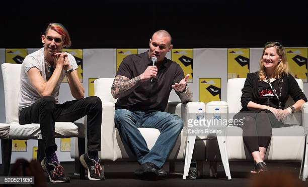 Director Max Landis Wrestler Randy Orton Actress Veronica Taylor speak onstage at the press conference during MEFCC 2016 at Dubai World Trade Centre...