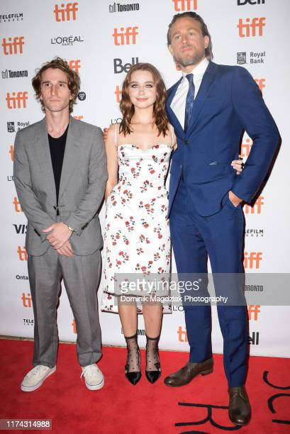 Director Max Winkler actress Jessica Barden and actor Charlie Hunnam attend the Jungleland photo call during the 2019 Toronto International Film...
