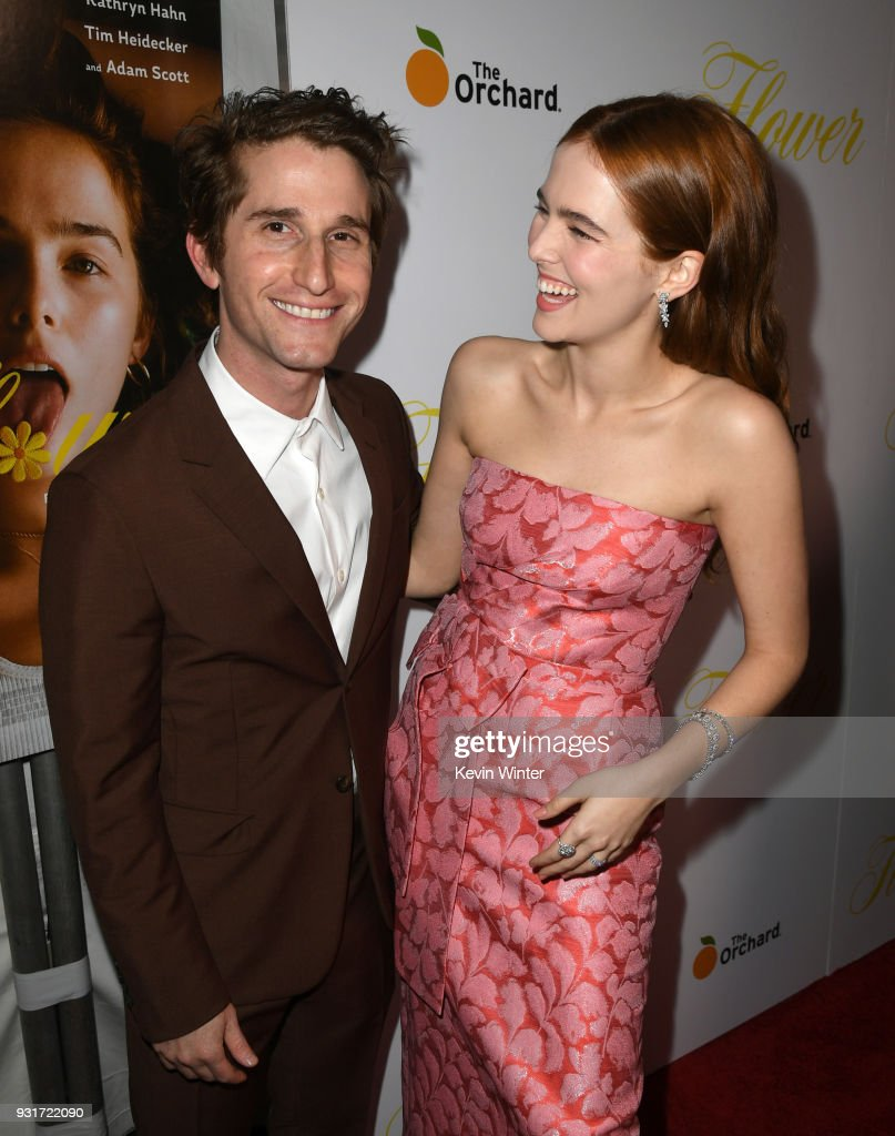 Director Max Winkler (L) and actress Zoey Deutch arrive at the premiere of The Orchard's 'Flower' at the Arclight Theatre on March 13, 2018 in Los Angeles, California.
